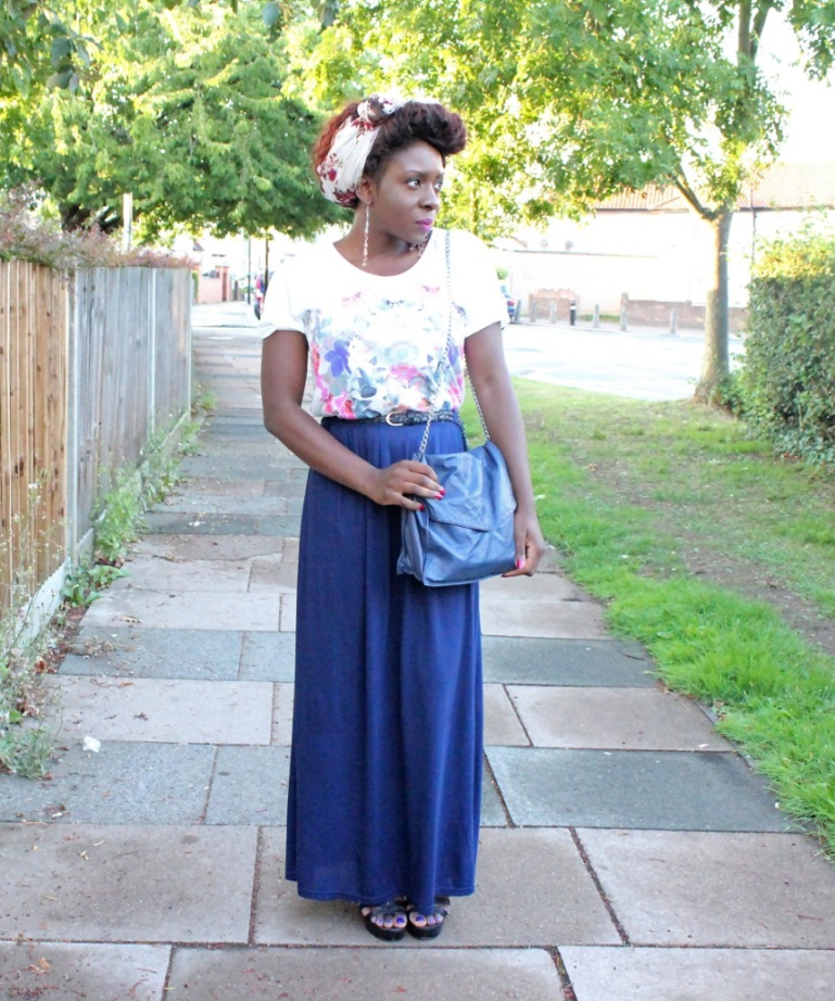 maxi skirt and t