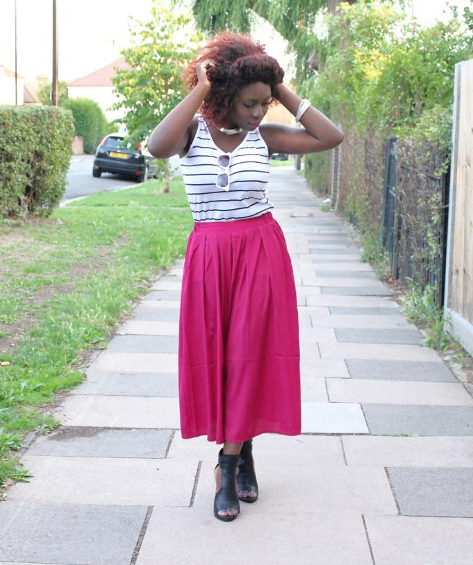 stripe top, culottes, sandals