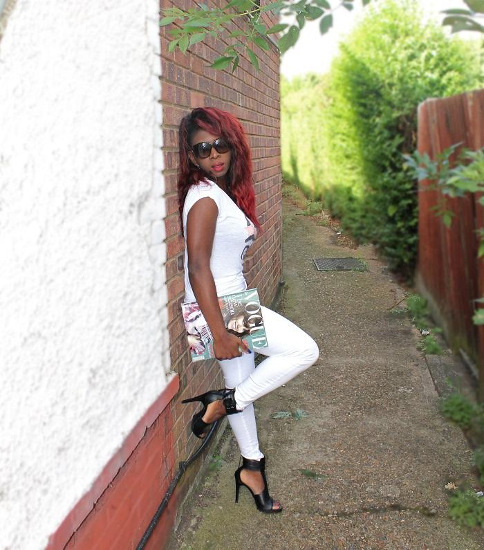 white tee, white jeans