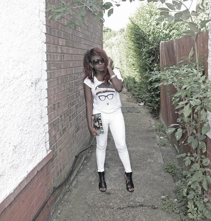 white top, white jeans
